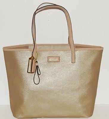 Coach 24341 Park Metro Mahogany Gold Saffiano Leather Tote Handbag