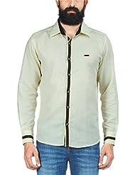 Zovi Men's Regular Fit Casual Linen Yellow Solid Shirt - Full Sleeves (10606816701)