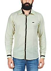Zovi Regular Fit Casual Linen Yellow Solid Shirt - Full Sleeves 1060681670139