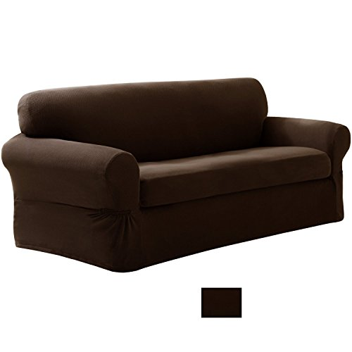 Mk Collection 2 Pc Set Brown Slipcover Stretch For Fit