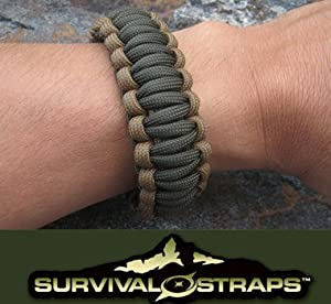 Large/Coyote-Olive Drab Survival Straps Brand Parachute Cord Bracelet