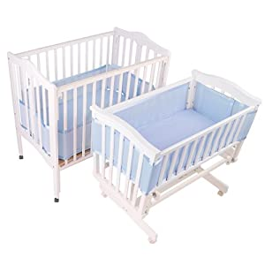 BreathableBaby Breathable Mesh Liner for Portable and Cradle Cribs, Blue
