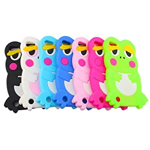 7 x Cute Lovely 3D Silicone Rubber Soft Frog Cases Covers Skins for Apple iPod touch 5th Generation - Green, White, Black, Baby Blue, Pink, Blue, Hot Pink