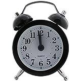 Analog Alarm Clock Metal (1b447) - Black - Silent Quartz Retro Bedside Room Decor (Size Small: 5x2.5x7cm)