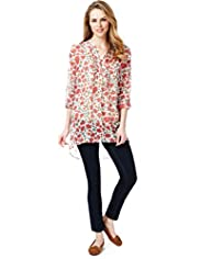 Long Sleeve Crinkle Effect Floral Print Blouse