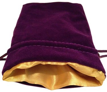 "Luxury Velvet Dice Bags with Satin Lining: 4""x6"" Purple Velvet Dice Bag with Gold Satin Lining - 1"