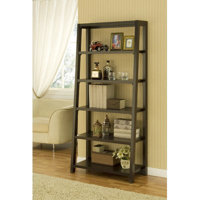 Heida Five-Shelves Ladder Style Bookcase / Display Cabinet In Warm Coffee Bean front-445947
