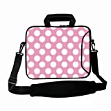 "White Polka Dots Pink 15"" 15.4"" 15.6 in laptop messenger sleeve Case Carrying Bag with Shoulder Strap Pocket for Apple MacBook Pro 15.4""/Dell inspiron 15 Alienware M15X XPS 15Z/ASUS /HP Pavilion dv6/15.5"" Sony Vaio E Series/SAMSUNG/Acer Aspire/LENOVO ide"