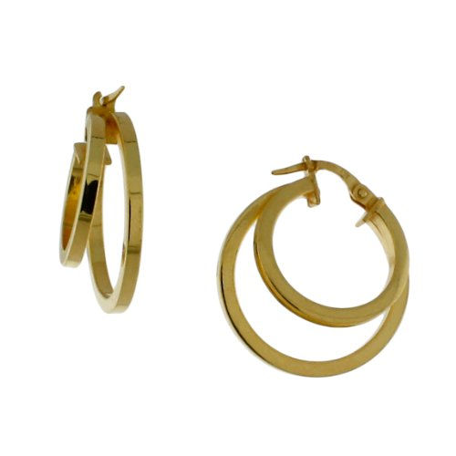 Sterling silver 14 karat Gold Plated, Square tubing, two circle hoop earring.
