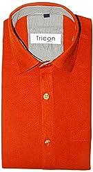 Tricon Men's Slim Fit Blended Plain Shirt (SS111_Bronze_Large)