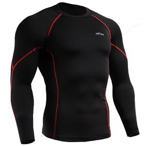 emFraa Homme Femme Sport Compression Black Base layer T-Shirt Long sleeve S