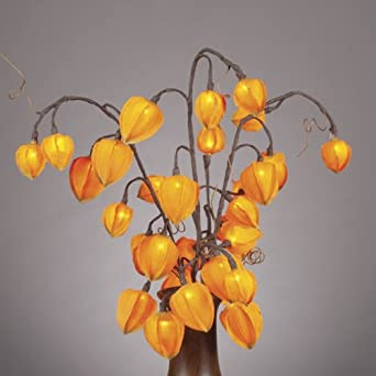"""Everlasting Glow LED 31"""" Chinese Lantern With 30 Clear Rice Lights, Orange Detail"""