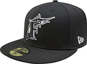 MLB Florida Marlins Black with White 59FIFTY Fitted Cap by New Era