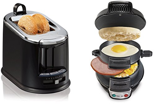 Hamilton Beach 25477 Breakfast Sandwich Maker with 22323 Wide 2 Slice Toaster Tongs (Egg Sandwich Maker Hamilton compare prices)