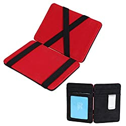 ECM07B02 Red Black Solid Slim Magic Wallet and Credit/ID Case Young Design leatheretter Mens Card Holder Wallet Working Day Designer By Epoint