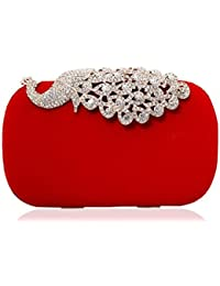 New 2015 Peacock Diamond Clasp Evening Bags Suede Hard Case Bolsa Feminina Pequena Ladies Party Day Chain Clutch Purses
