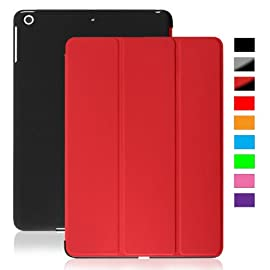 KHOMO DUAL Red Polyurethane Cover FRONT + Hard Black Rubberized BACK Case for Apple iPad 5 AIR