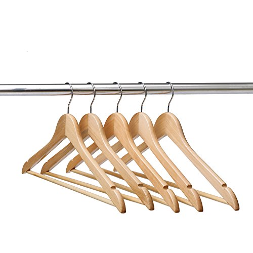 Ezihom® Gugertree Solid Wooden Suit Hangers, Coat Hangers, Wood Clothes Hanger, Natural Finished, 10 Pack