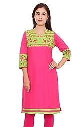 Beautiful Cotton Traditional Womens Kurta (46, Pink)