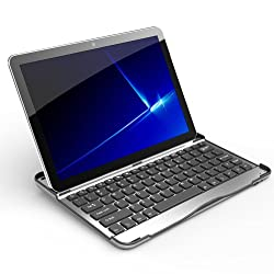 Samsung Galaxy Tab 10.1 Case Accessory Cover 2-in-1 Aluminum Bluetooth Wireless Keyboard (Silver with Black Keys)