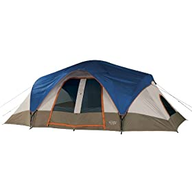 Wenzel Great Basin 18 X 10-Feet Nine-Person Two-Room Family Dome Tent (Light Grey/Blue/Taupe)