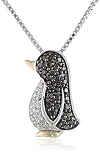 Sterling Silver and 14k Yellow Gold Black and White Diamond Penguin Pendant Necklace (0.23 cttw, Black Diamonds and  I-J Color, I3 Clarity), 18