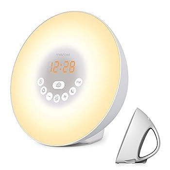 Sunrise Alarm Clock,Wake Up Light with 6 Nature Sounds, FM Radio, Touch Control and USB Charger, Sunrise Simulator Alarm Clock