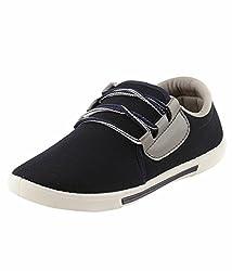 Leewon Comfort Plus Black Men's Canvas Sneakers (Size : 6 )