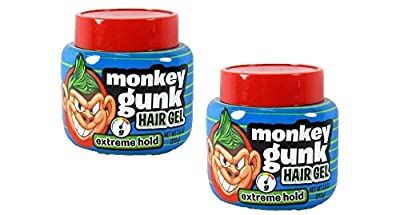 Monkey Gunk Hair Gel Extreme Hold Men's Boys Hair Styling Gel Pomade 2 Pieces