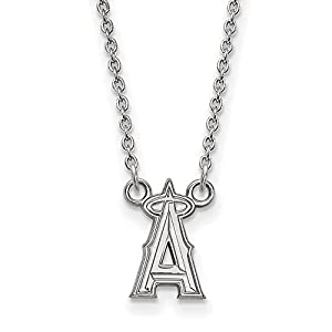 Sterling Silver MLB Los Angeles Angels Team Logo Pendant Necklace - 18 inches