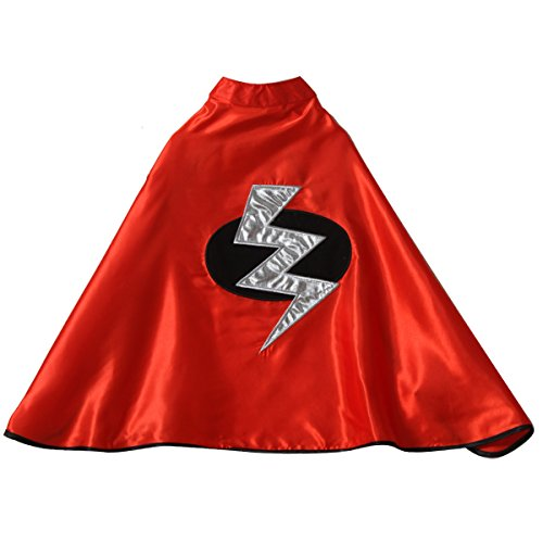 One Red Satin Superhero Lightning Bolt Cape