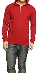 Gritstones Mens Hooded Cotton T-Shirt (GSFSZPHDD60050MRN_Maroon_X-Large)