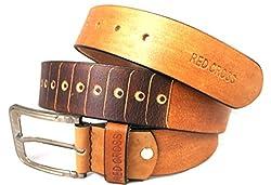 REDCROSS Men's Genuine Leather Belt(RCMB001_Brown)