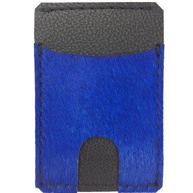 Kapotas Wallet with Cash Sleeve- Cobalt Blue Calf Fur Colorway