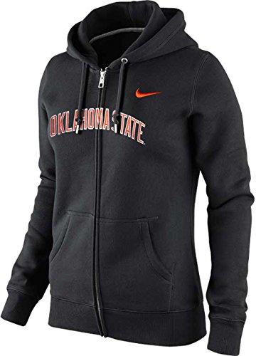 Nike Womens Oklahoma State Cowboys OSU Arch Name Wordmark Classic Zip Hoodie (Black, Small)