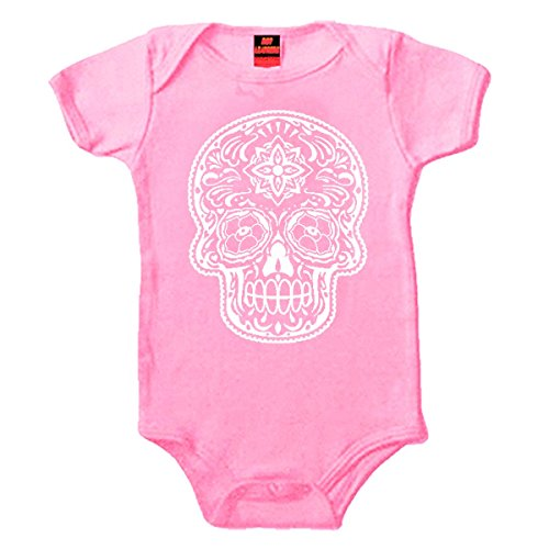 Hot Leathers Poco Loco Sugar Skull Onesie in Pink (New Born)