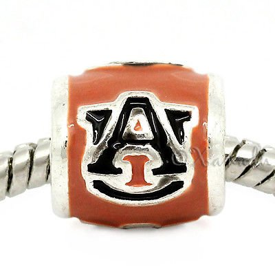 Auburn University Football Team Logo European Bead For European Charm Bracelets