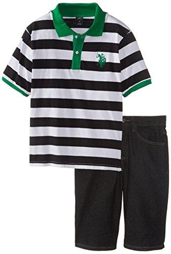 U.S. Polo Assn. Big Boys' Wide Stripe Pique Polo And Denim Short Set, Kelly Green, 10