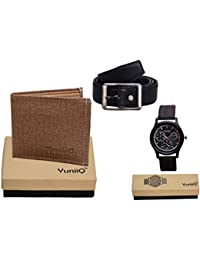 Combo Pack Of Beige Denim Shade Wallet With Black Belt With YuniiQ Black Color Chronograph Wrist Watch. - B01F0XOGK6