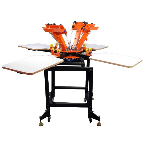 4 Color 4 Station Silk Screen Commercial Printing Press Machine Orange NS404-EAS