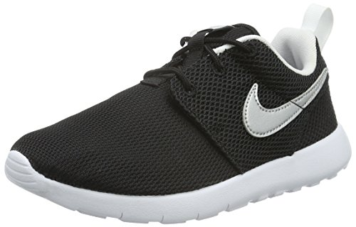 Nike Roshe Run Youth Sneakers (Black/Metallic Silver-White) Size 3 M US Little Kid (Ninja Turtles Nike Shoes compare prices)