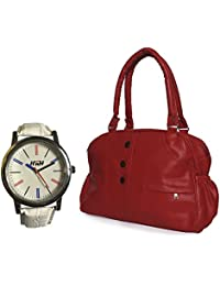 Arc HnH Women HandBag + Watch Combo - Elegant Red Handbag + Multicolor White Watch