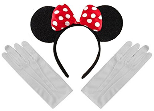 Black Red White Polka Minnie Mouse Disney Fancy Dress Ears Headband + Gloves Set by DangerousFX