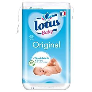 Lotus Baby Original Cotons Carrés Bi-Faces x 75 Lot de 6