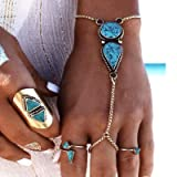 Milanco Boho Beach Turquoise Bracelet Vintage Silver Color Hand Chain with Finger Ring Hand Bangle Harness for Women and Girls(1PC)