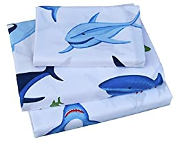 Kids Boy Girl Cartoon Blue Shark 100% High Quality Cotton 200 Thread Count 3-Pieces Twin Bedding Set, Flat Sheet + Fitted Sheet + Pillowcase (6)