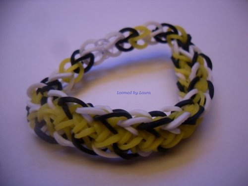 Loomed By Laura Bracelet, Middle Strip Style, Yellow Black And White - Quality Loomwear, All-Original!