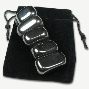 Magnetic haematite chunks in pouch