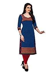 AMP IMPEX Ethnicwear Women's Unstitched Kurti Fabric Blue Free Size