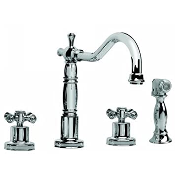 Graff G-4220-C3-PC Pesaro Two Handle Widespread Kitchen Faucet with Sidespray Polished Chrome